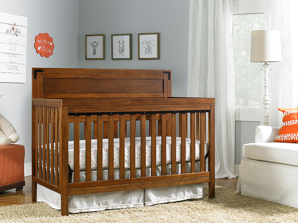 Paxton Collection Convertible Crib - Rustic Brown | Modern Fisher-Price® Baby Furniture by Bivona & Company