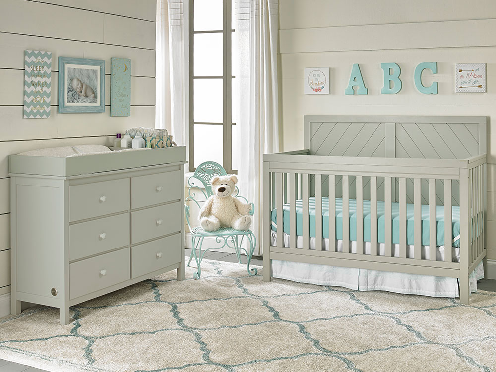 Buckland Collection Convertible Crib - Misty Grey | Modern Fisher-Price® Baby Furniture by Bivona & Company
