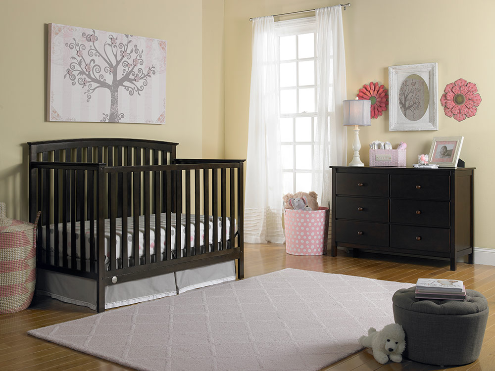 Jesse Collection Convertible Crib - Espresso | Modern Fisher-Price® Baby Furniture by Bivona & Company