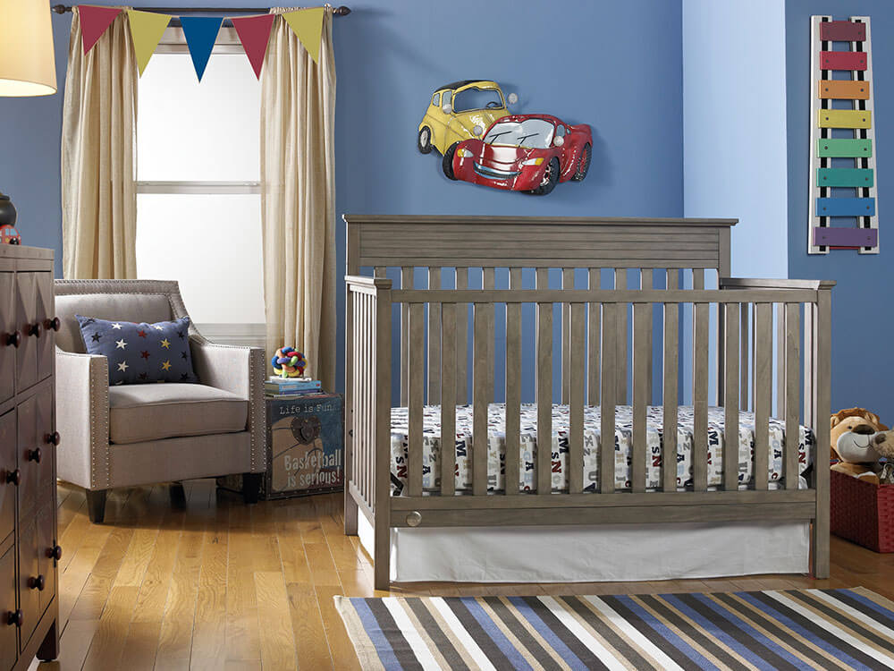 Newbury Collection Convertible Crib - Vintage Grey | Modern Fisher-Price® Baby Furniture by Bivona & Company