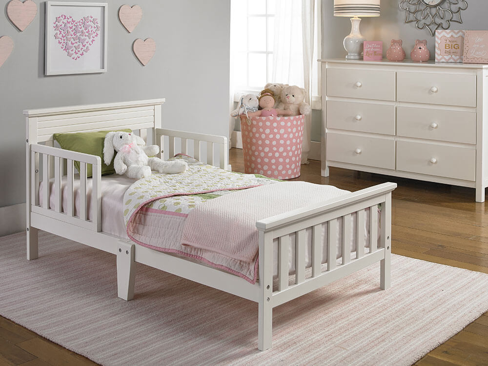 Newbury Collection Toddler Bed - Snow White   Modern Fisher-Price® Baby Furniture by Bivona & Company